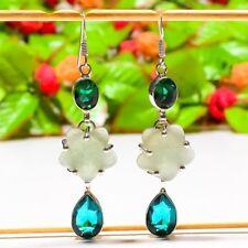 "Entrancing Aqua Chalcedony, Blue Topaz, Emerald Jewelry Earring 2.76"" E-742"