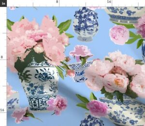 Blue Vases Deep Blueberry Chinoiserie White Spoonflower Fabric by the Yard