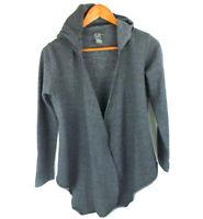 Dots Women's Open Front Wrap Hooded Long Sleeve Gray Drape Sweat Jacket Size S