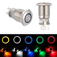 LED Aluminum Metal 16mm Push Button Switch 5V 12V 24V 220V Momentary Latching