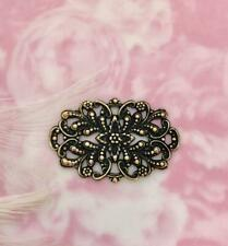 Crest Floral Stamping Oxidized (Fb-6097) Antique Brass (2 Piece) Filigree