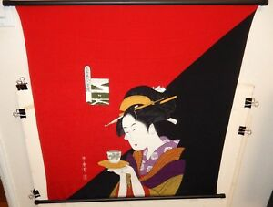 KITAGAWA UTAMARO JAPANESE GEISHA SILK TAPESTRY SCROLL PAINTING SIGNED