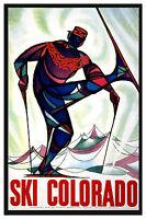SKI COLORADO,. Vintage Art Deco Skiing/Travel Poster A1A2A3A4Sizes