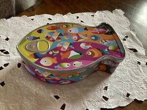 French Fish Shaped Tin Box With Colourful Swimming Fish Pictures