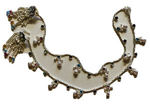 New PAIR STERLING SILVER HANDMADE payal crystals BELLS ANKLET BOLLYWOOD INDIA