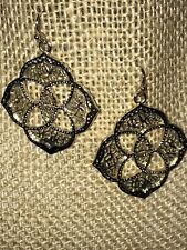 Kendra Scott Dawn Logo Medallion Gold drop Earrings RARE HTF