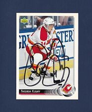 Theo Fleury signed Calgary Flames 1992-93 Upper Deck hockey card