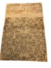 100% Natural Silk Vintage Tibetan Rug 2'x3' Light Green Circa 1980