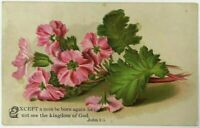 Victorian Religious Greeting Card Floral Pink Carnations Flowers God John 3:3