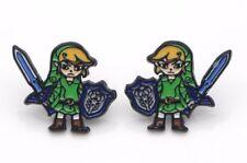 """Legend of Zelda """"Link"""" ENAMEL STUD EARINGS APPROX.1/2"""" in Gift Box"""