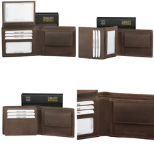 ✅ Mens RFID/NFC Blocking Bifold Wallet with Coin Pocket - Brown Genuine Real Hun