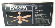 "Bahama 42"" Ceiling Fan 4 Blades Stencil Polished Brass Fan W/ Light Kit - SEALED"