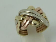 9ct 3 COLOUR GOLD 6 PCE PUZZLE RING SIZE Q HALLMARKED SIX PIECE TRI GOLD PUZZLE