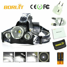 BORUiT Headlamp 25,000 Lumen Zoomable CREE 3x L2 LED Headlight 18650 Battery NEW