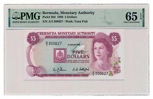 BERMUDA banknote 5 Dollars 1988 PMG grade MS 65 EPQ Gem Uncirculated