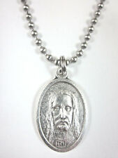 """Holy Face / Cross Medal Pendant Necklace 24"""" Ball Chain Gift Box & Prayer Card"""