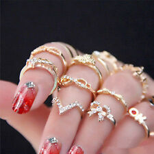 1 Set 7pcs Mid Finger Tip Stacking Rings Bowknot Knuckle Midi For Women&Lady