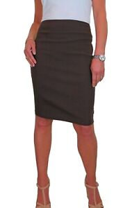 """ICE (2495-3) Office School Stretch Pencil Skirt 22"""" Smart Casual Brown 6-18"""