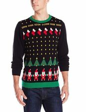 Fashion Men's Long Sleeve Casual Santa Invaders Ugly Christmas Sweater M