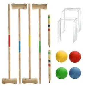4 PERSON WOODEN CROQUET SET GAME OUTDOOR SUMMER FUN PLAY FAMILY NEW