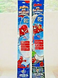 """Kites Marvel Spider man Avengers With String 22"""" outdoor Fun Activity Lot of 2"""