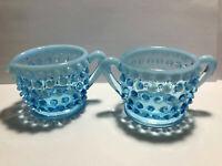 Vintage Fenton Blue Opalescent Hobnail Creamer & Sugar - Bowl,  Depression Glass