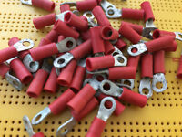 "Red Ring Crimp Terminal M2.5 3/32"" Stud 0.3-1.65mm 22-16 AWG"