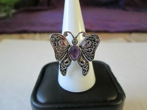 Amethyst Butterfly Stainless Steel Ring
