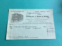 Charles J Barr & Sons Ltd 1936 Chair Cabinet Makers London  receipt  R34810