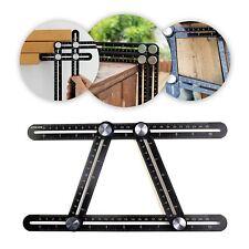 Multi Angle Measuring Ruler Full Metal Foldable Angleizer Template Tool Black