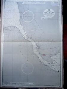 """1966 CANADA Nova Scotia STRAIT of CANSO Admiralty Map Chart 28"""" x 41"""" D100"""