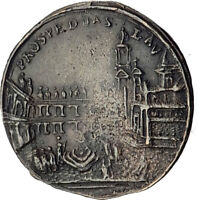 1700's ITALY Antique Christian Medal VIRGIN & CHRIST of Loreto Piazza  i63537