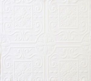 Medium Ceiling Tile Raised White Textured Paintable Wallpaper 497-59001 /FD59001