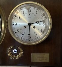 New listing Salem Ships Bell Brass 8 Day Jeweled Wall Clock Very Good Condition