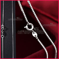 9K WHITE GOLD GF SILVER LADIES GIRLS KIDS BOX CHAIN NECKLACE for PENDANT 40cm
