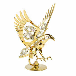 EAGLE SWAROVSKI (R) CRYSTAL 24KT GOLD DECORATION ORNAMENT FIGURINE SUN CATCHER