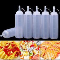 6x Plastic Clear 8oz Squeeze Bottle Condiment Dispenser Ketchup Mustard Sauce