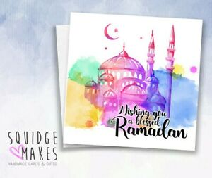 Wishing you blessed Ramadan card * Watercolour hand designed * Personalised EID