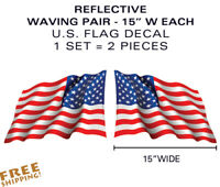 "X-LARGE PAIR 15"" REFLECTIVE U.S. Flag Waving Decals military USA US VINYL"