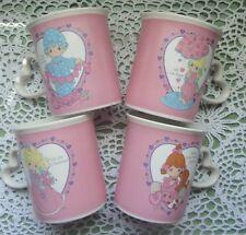 Vintage Enesco Precious Moments Set of 4 Cups, Mugs w/Heart Shape Handle '96 Euc