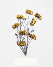 Metal Wall Art Decor Picture - Gold Poppies Bunch with Silver Stems Poppy Flower