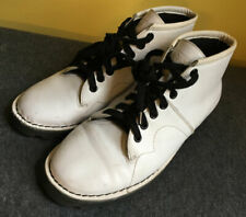 T.U.K. ORIGINAL MONKEY ANKLE BOOTS WHITE LEATHER 7 EYE US MENS 7 - UK 6