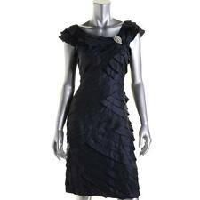 London Times 5507 Womens Navy Shimmer Shutter Pleat Party Cocktail Dress 10 BHFO