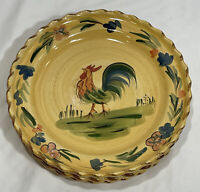 "Home ""Rooster"" Pattern Round Hand Painted Dinner Plates 11 1/2"" (Set of 4)"