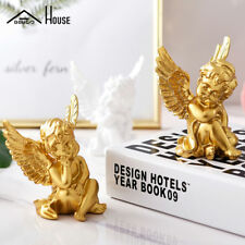 2pcs Gold/ White Lovely Angel Resin Home Decor Exquisite Gift Cupid Angel Statue