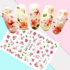 Nail Art Stickers Transfers 3D Self Adhesive Pretty Pink Flowers (XF3075)