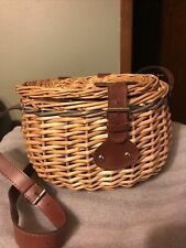 New listing Wicker Fishing Creel Basket, leather accents, adjustable strap Large