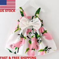 Infant Newborn Baby Girls Princess Dress Bowknot Gallus Party Tute Dress Clothes