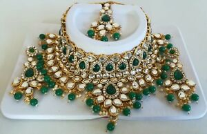 Indian Fashion Kundan Green Pearl Jewelry Necklace Maang Tikka Earring Sets MG26