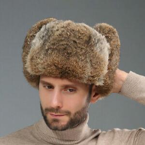 Real Rabbit Fur Hat Russia Trapper Earflap Whole pelt Ski Cap Snowboard Earflap